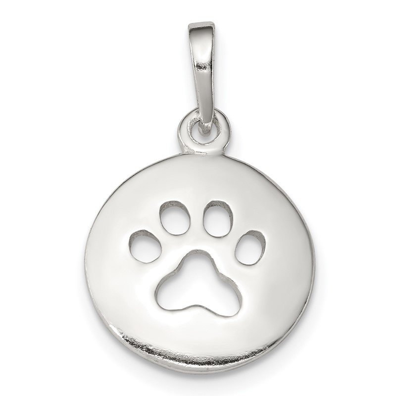 Quality Gold Sterling Silver Polished Paw Print Pendant