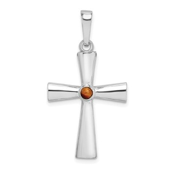 Sterling Silver Rhodium-plated Tigers Eye Cross Pendant