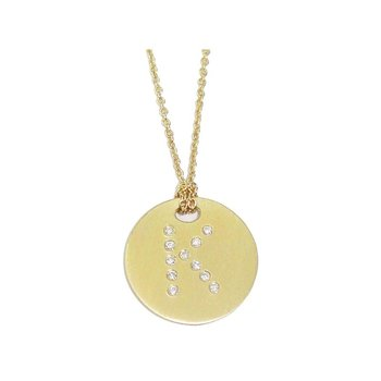 Disc Pendant With Diamond Initial K