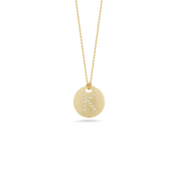18Kt Gold Disc Pendant With Diamond Initial K