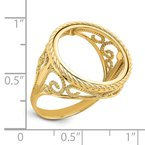 Quality Gold 14ky Twisted Wire Scroll Design 16.5mm Prong Coin Bezel Ring