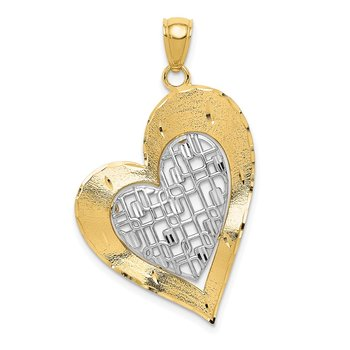 14K Two-tone Polished Heart Pendant