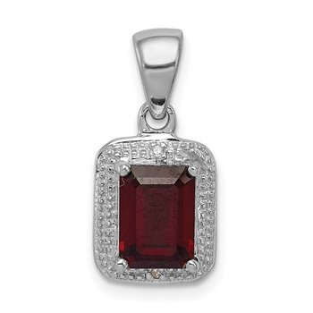 Sterling Silver Rhodium Emerald-cut Garnet & Diamond Pendant