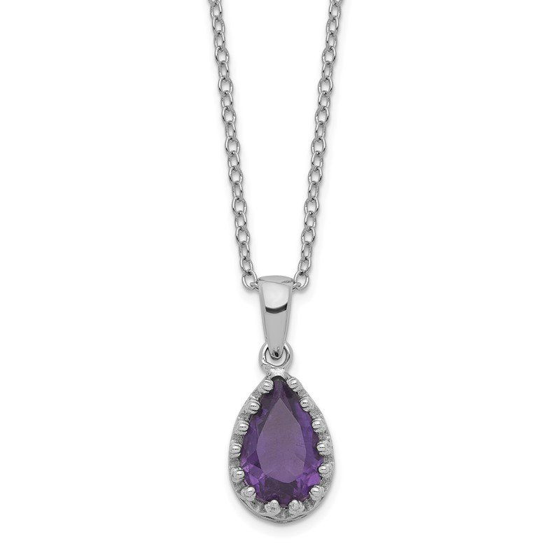 Quality Gold Sterling Silver Rhodium-plated Pear Amethyst Necklace