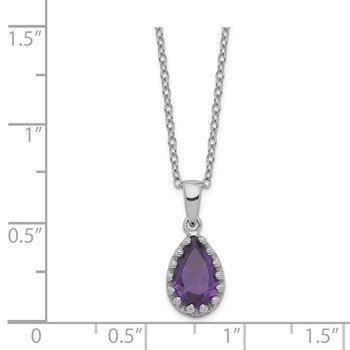 Sterling Silver Rhodium-plated Pear Amethyst Necklace