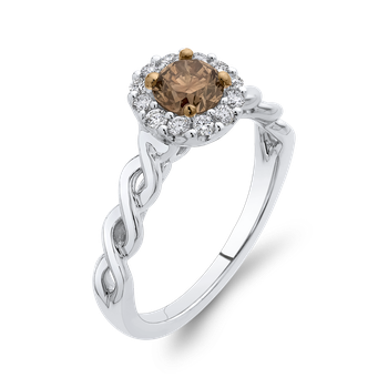 10K White Gold 3/4 Ct Brown and White Diamond Fashion Ring
