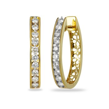 14K YG Diamond Hoops/Huggies Ear-rings