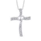 Essentials 10K White Gold 1/5 ct Round White Diamond Cross Pendant with Chain