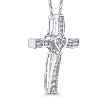 10K White Gold 1/5 ct Round White Diamond Cross Pendant with Chain