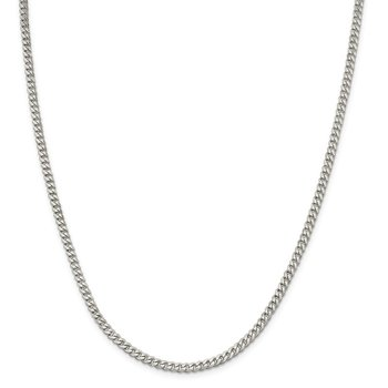 Sterling Silver Rhodium-plated 3.5mm Curb Chain