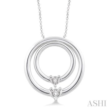 silver circle diamond pendant