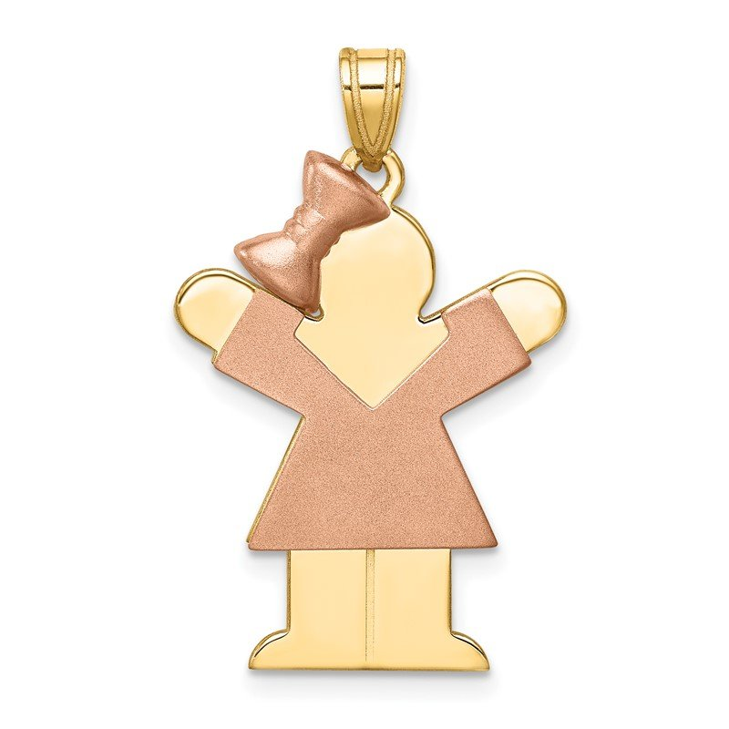Quality Gold 14k Two-Tone Large Girl w/Bow on Left Engravable Charm