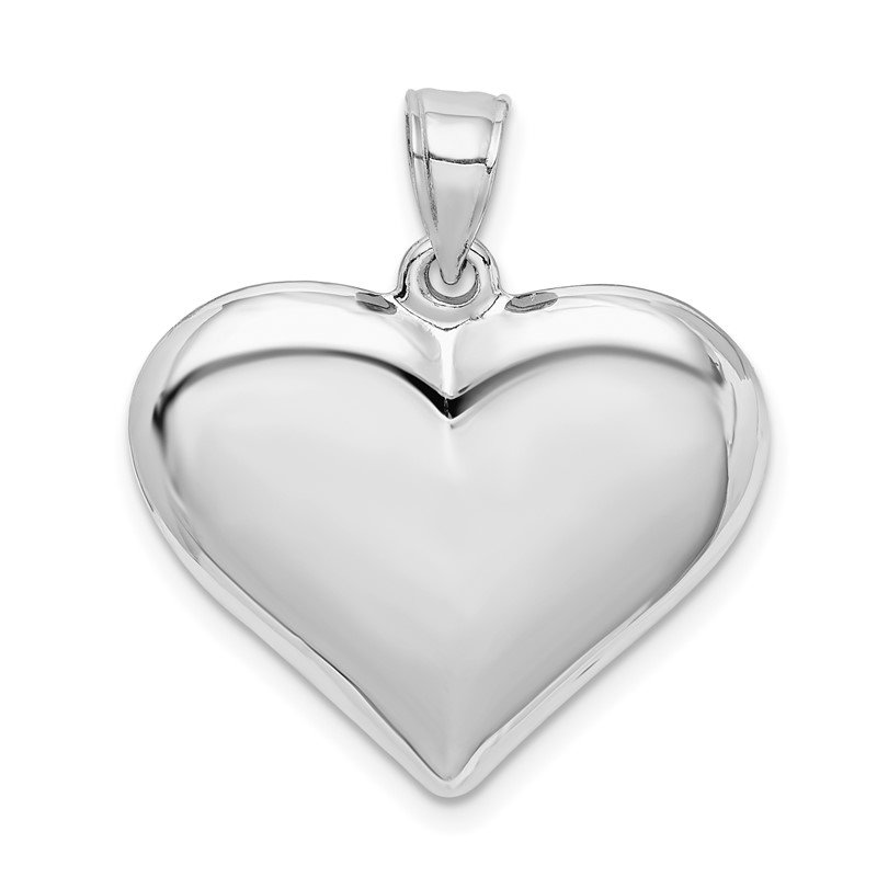 Quality Gold Sterling Silver Rhodium-plated Polished Puffed Heart Pendant