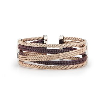 Burgundy & Carnation Cable Petite Interlaced Bracelet