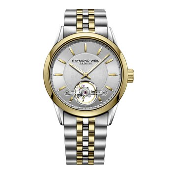 Automatic open balance wheel, 42mm Calibre RW1212, two-tone, silver dial