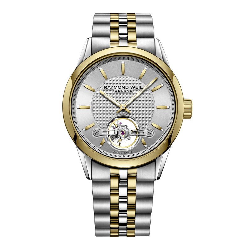 Raymond Weil Automatic open balance wheel, 42mm Calibre RW1212, two-tone, silver dial