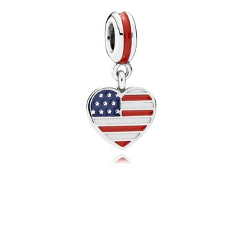 U.S. Heart Flag, Red, White Blue Enamel