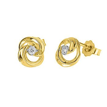 10K YG Diamond Swirl Design Stud Earring