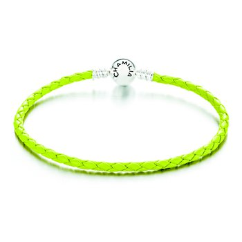 Green Braided Leather Bracelet with Round Snap Clossure