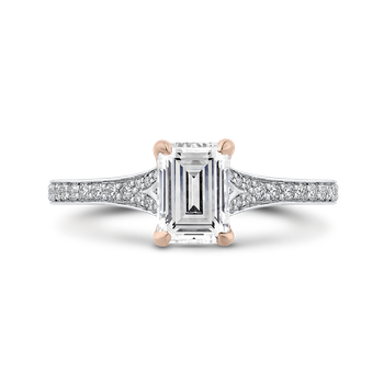18K Two-Tone Gold Emerald Cut Diamond Engagement Ring (Semi-Mount)