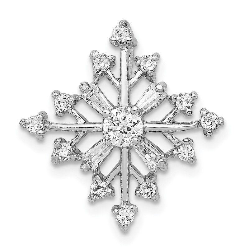 Quality Gold Sterling Silver CZ Snowflake Slide