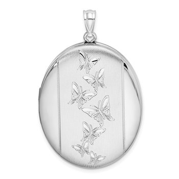 Sterling Silver Rhodium-plated Butterflies 34mm Oval Locket