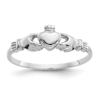 14k White Gold Child's Claddagh Ring