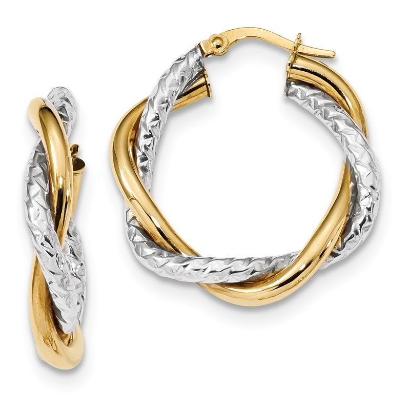 Quality Gold 14k Two-tone Polished and Textured Twisted Hoop Earrings