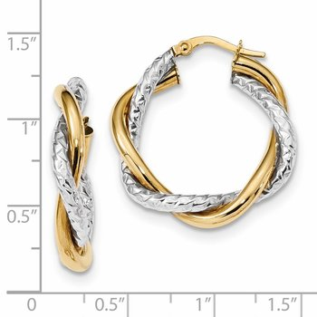 14k Two-tone Polished and Textured Twisted Hoop Earrings
