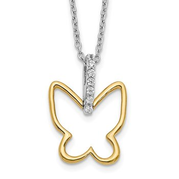 14k Two-tone Diamond Butterfly 18 inch Necklace