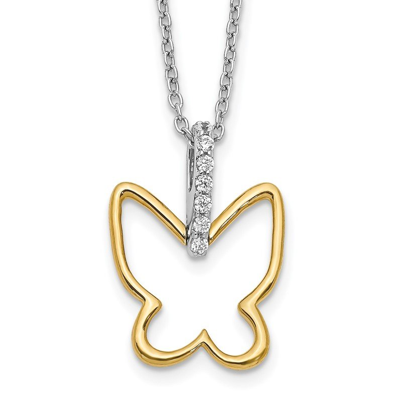 Quality Gold 14k Two-tone Diamond Butterfly 18 inch Necklace