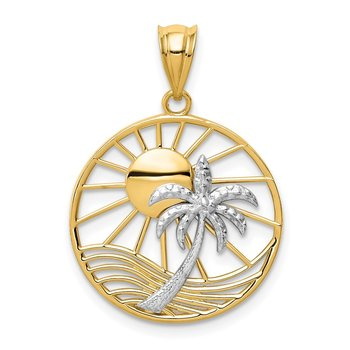 14K Two Tone Sun and Palm Tree Pendant