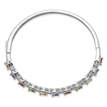 Sterling Silver Rhodiu -plated Multi-Color CZ Hinged Bangle