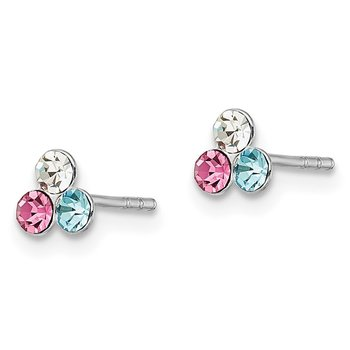 Sterling Silver Madi K RH-Plated Post Multi Colored Crystal Stud Earrings