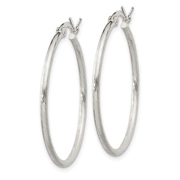 Sterling Silver Fine Twist 1.5x30mm Hoop Earrings