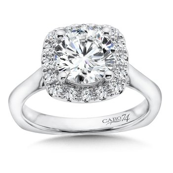 Halo Engagement Ring in 14K White Gold (2ct. tw.)