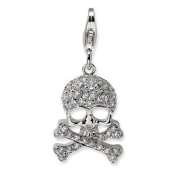 Sterling Silver CZ Skull and Cross Bones w/Lobster Clasp Charm