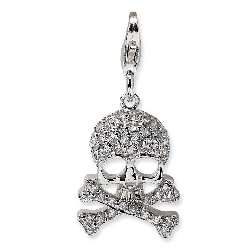 Quality Gold Sterling Silver CZ Skull and Cross Bones w/Lobster Clasp Charm