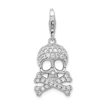 Sterling Silver Rhodium-plated CZ Skull & Cross Bones w/Lobster Clasp Charm