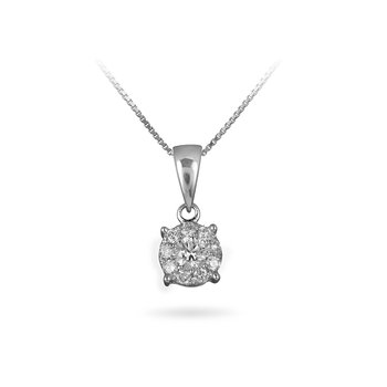 14K WG Diamond Cluster Galaxy Pendant 3/4 Ct Look