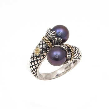 18kt and Sterling Silver Overlapping Design Black Pearl Textured Ring