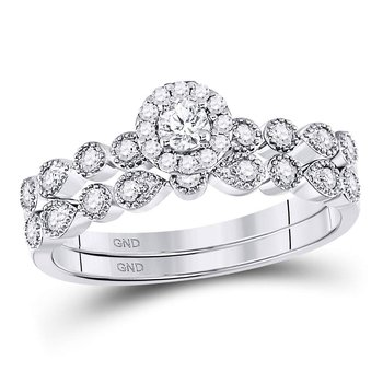 10kt White Gold Womens Round Diamond Stackable Bridal Wedding Engagement Ring Band Set 1/3 Cttw