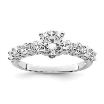 Sterling Silver Rhodium-plated Polished & CZ Ring