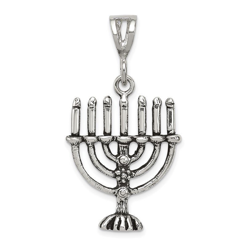 Quality Gold Sterling Silver Antiqued Menorah Charm