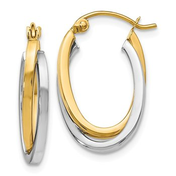 Leslie's 14K Two-tone Polished Oval Hoop Earrings