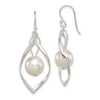 Sterling Silver Twist Dangle Simulated Pearl Earrings