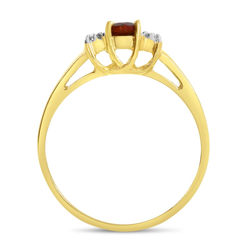 Color Merchants 14k Yellow Gold Round Garnet And Diamond Ring