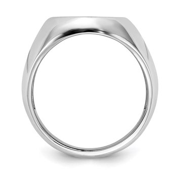 14k White Gold 16.0x13.0mm Open Back Men's Signet Ring