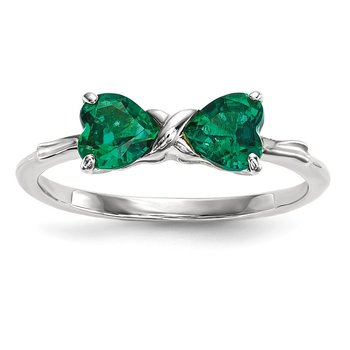 14k White Gold Polished Created Emerald Bow Ring