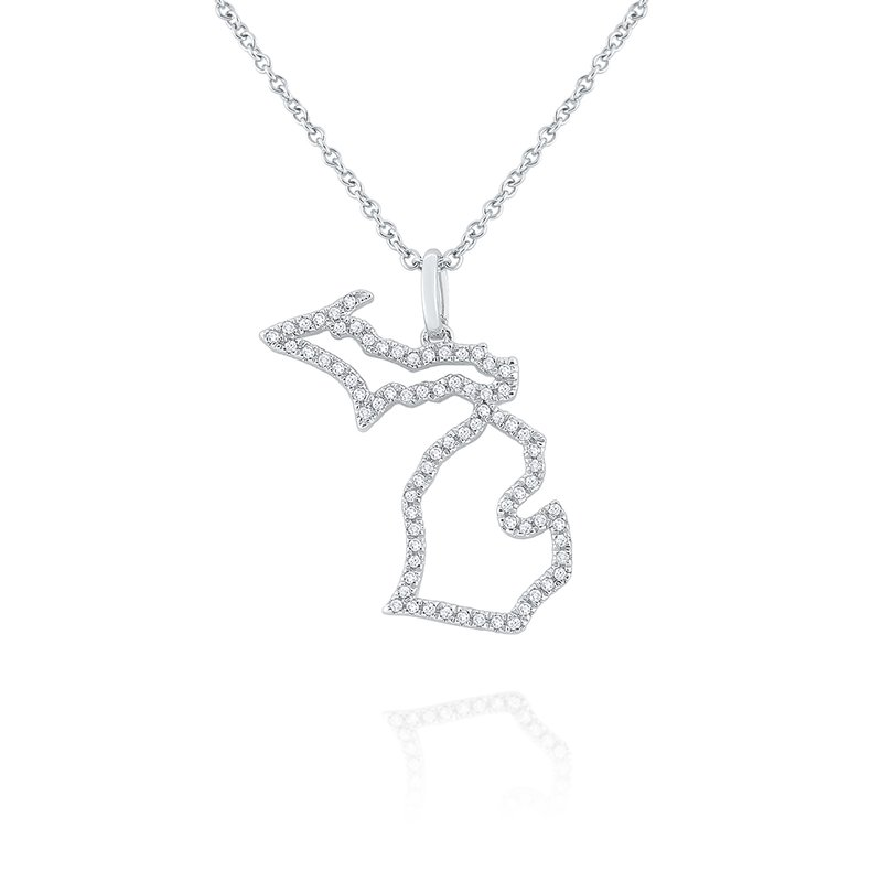 KC Designs 14k Gold and Diamond Mini Michigan State Necklace